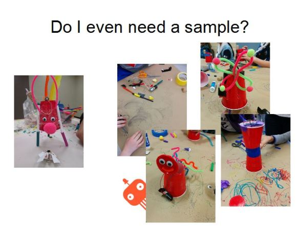 Pictures of doodling robots created with a sample and without.